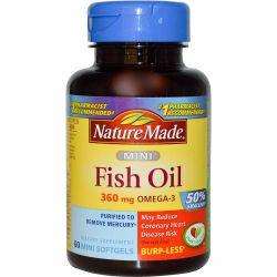 Nature Made, Mini Fish Oil, Omega-3, 360 mg, 60 Mini Softgels