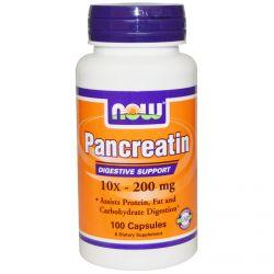 Now Foods, Pancreatin, 10X - 200 mg, 100 Capsules