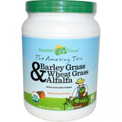 Amazing Grass, The Amazing Trio, Barley Grass & Wheat Grass & Alfalfa, Whole Food Drink Powder, 28 oz (800 g)