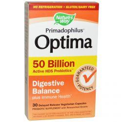 Nature's Way, Primadophilus Optima, Digestive Balance, 50 Billion, 30 Delayed Release Veggie Caps