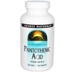 Source Naturals, Pantothenic Acid, Vitamin B-5, 250 mg, 250 Tablets