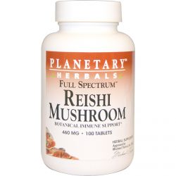 Planetary Herbals, Reishi Mushroom, Full Spectrum, 460 mg, 100 Tablets