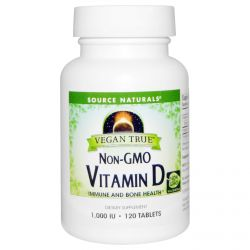 Source Naturals, Vegan True, Vitamin D, 1,000 IU, 120 Tablets