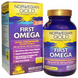 Renew Life, Norwegian Gold The Advanced Fish Oils, First Omega, Natural Orange Flavor, 60 Enteric-Coated Softgels