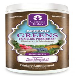 Genesis Today, Defense Greens, Blueberry & Mushroom, 25 Billion Probiotics, 1 lb 0.6 oz (471 g)