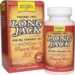 Natural Balance, Long Jack, PowerMax 200, 60 Veggie Caps