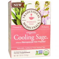 Traditional Medicinals, Organic Cooling Sage Tea, Caffeine Free, 16 Wrapped Tea Bags, .90 oz (25.6 g)
