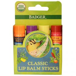 Badger Company, Organic Classic Lip Balm Sticks, 4 Lip Balm Sticks, .15 oz (4.2 g) Each