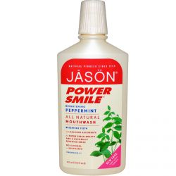 Jason Natural, Power Smile, All Natural Mouthwash, Brightening Peppermint, 16 fl oz (473 ml)