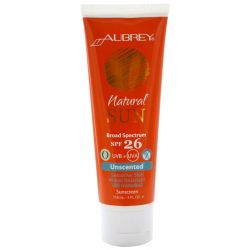 Aubrey Organics, Natural Sun, SPF 26, Unscented Suncreen, 4 fl oz (118 ml)
