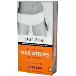 Parissa, Natural Hair Removal System, Wax Strips, 16 (8x2 Sided) Strips