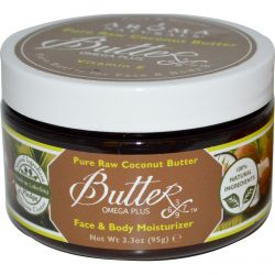 Aroma Naturals, Pure Raw Coconut Butter, Face & Body Moisturizer, 3.3 oz (95 g)