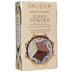 Pacifica, Super Powder Supernatural Eye Shadow Trio, Shades: Stone, Cold, Fox, 0.10 oz (3.0 g)