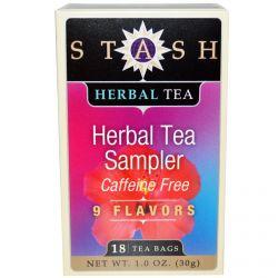 Stash Tea, Herbal Tea Sampler, Caffeine Free, 9 Flavors, 18 Tea Bags, 1.0 oz (30 g)