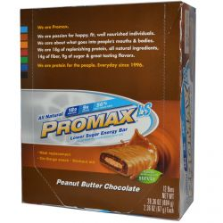 Promax Nutrition, Promax LS, Lower Sugar Energy Bar, Peanut Butter Chocolate, 12 Bars, 2.36 oz (67 g) Each