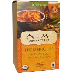 Numi Tea, Organic, Turmeric Tea, Fields of Gold, 12 Tea Bags, 1.31 oz (37.2 g)