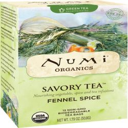 Numi Tea, Organic, Savory Tea, Fennel Spice, 12 Tea Bags, 1.79 oz (50.8 g)