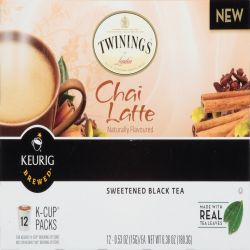 Twinings, Chai Latte, Sweetened Black Tea, 12 K-Cup Packs, 0.53 oz (15 g) Each