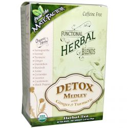Mate Factor, Organic Functional Herbal Blends, Detox Medley with Ginger and Turmeric, 20 Tea Bags, (3.5 g) Each