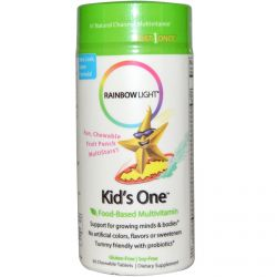 Rainbow Light, Kid's One, MultiStars, Food-Based Multivitamin, Fruit Punch, 30 Chewable Tablets