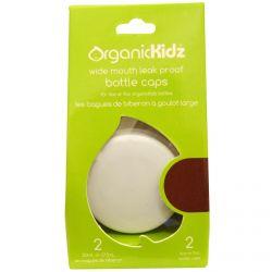 Organic Kidz,  Wide Mouth Leak Proof  Bottle Caps for 4 oz or 9 oz, White, 2 Bottle Caps
