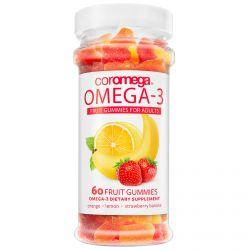 Coromega, Omega-3 Fruit Gummies for Adults, Orange, Lemon, Strawberry Banana, 60 Fruit Gummies