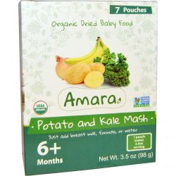 Amara Foods, Organic Dried Baby Food, Potato and Kale Mash, 6+ Months, 7 Pouches, 0.53 oz (14 g)