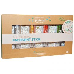Luna Star Naturals, Pretendi Naturali, All Natural Facepaint Stick Set, Silver, Gold, Red, Green, 4 Units, 3 g Per Unit