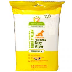 BabyGanics, Thick n' Kleen, Extra Gentle Face, Hand & Baby Wipes, Fragrance Free, 40 Wipes, (8 in x 6.3 in) Each