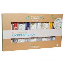Luna Star Naturals, Pretendi Naturali, All Natural Facepaint Stick Set, Red, Blue, White, Yellow, 4 Units, 3 g Per Unit