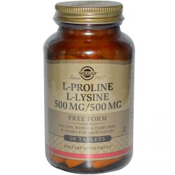 Solgar, L-Proline/L-Lysine, Free Form, 500mg/500 mg, 90 Tablets