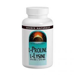 Source Naturals, L-Proline L-Lysine,  275 mg / 275 mg, 120 Tablets