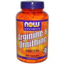 Now Foods, Sports, Arginine & Ornithine, 500/250, 250 Capsules