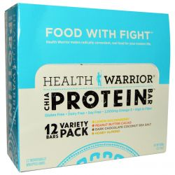 Health Warrior, Inc., Chia Protein Bars, Variety Pack, 12 Bars, 2.12 oz (600 g)