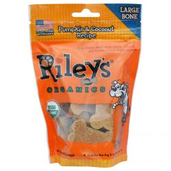 Riley's Organics, Dog Treats, Large Bone, Pumpkin & Coconut Recipe, 5 oz (142 g)