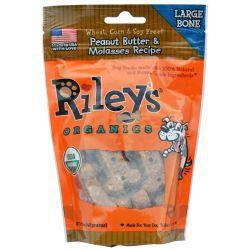 Riley's Organics, Dog Treats, Large Bone, Peanut Butter & Molasses Recipe, 5 oz (142 g)