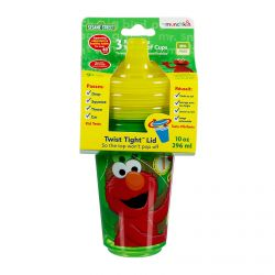 Munchkin, 123 Sesame Street, Re-Usable Spill-Proof Cups, 3 Pk, 10 oz (296 ml) Each