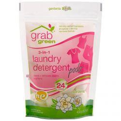 GrabGreen, 3-in-1 Laundry Detergent Pods, Gardenia, 24 Loads, 15.2 oz (432 g)