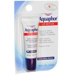 Aquaphor, Lip Repair, Immediate Relief, Fragrance Free, .35 fl oz (10 ml)