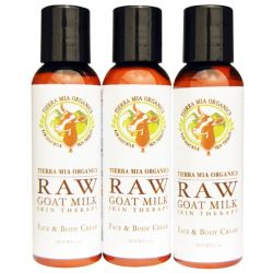 Tierra Mia Organics, Raw Goat Milk Skin Therapy,  Face & Body Cream, Citrus + Coconut + Emily, 3 Bottles, 2 oz (56 g) Each
