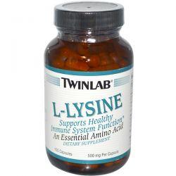 Twinlab, L-Lysine, 500 mg, 100 Capsules