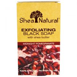 Shea Natural, Exfoliating Black Soap with Shea Butter, Midnight Pomegranate, 5 oz (141 g)