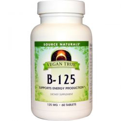 Source Naturals, Vegan True, B-125, 125 mg, 60 Tablets