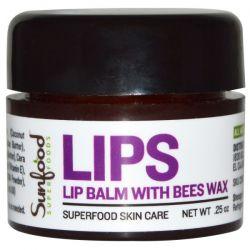 Sunfood, Lips, Lip Balm with Bees Wax, .25 oz