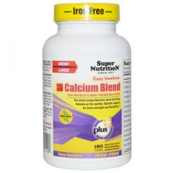 Super Nutrition, Calcium Blend, Easy Swallow, Iron-Free, 180 Tabs