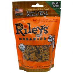 Riley's Organics, Dog Treats, Small Bone, Peanut Butter & Molasses Recipe, 5 oz (142 g)