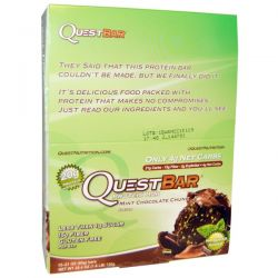 Quest Nutrition, Quest Bar, Protein Bar, Mint Chocolate Chunk Flavor, 12 Bars, 2.1 oz (60 g) Each