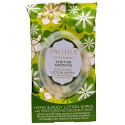 Pacifica, Hand & Body Lotion Wipes Tahitian Gardenia, 30 Biodegradable Towelettes