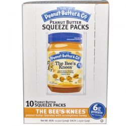 Peanut Butter & Co., Easy Squeezy, The Bee's Knees Peanut Butter, 10 Squeeze Packs, 1.15 oz (32 g) Each