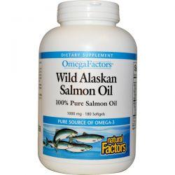 Natural Factors, Omega Factors, Wild Alaskan Salmon Oil, 1,000 mg, 180 Softgels